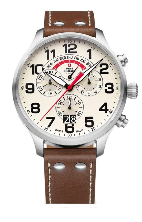 SWISS MILITARY by CHRONO MEN CHRONOGRAPH BROWN LEATHER STRAP