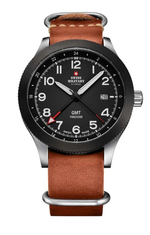 SWISS MILITARY by CHRONO MENS BROWN LEATHER STRAP