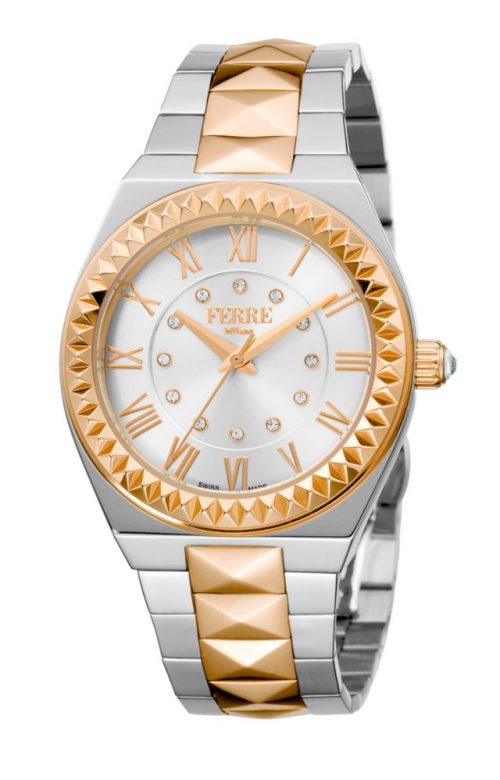 FERRE MILANO OUTRE TWO TONE SILVER STAINLESS STEEL BRACELET