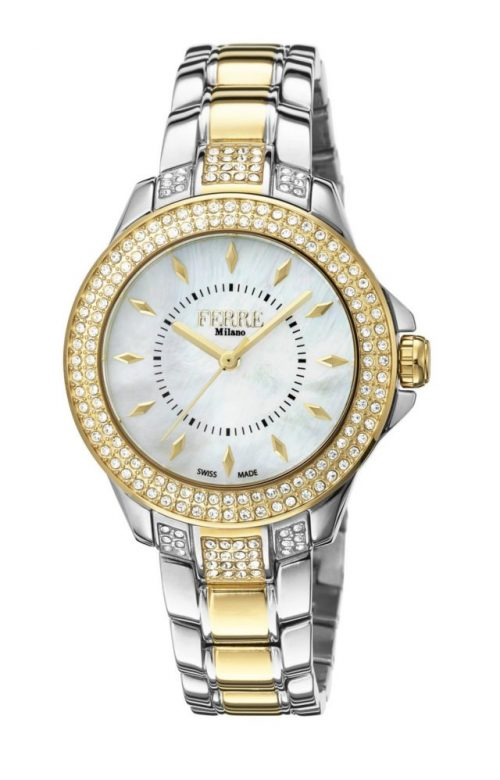 FERRE MILANO DONNA LUCE TWO TONE SILVER STAINLESS STEEL BRACELET