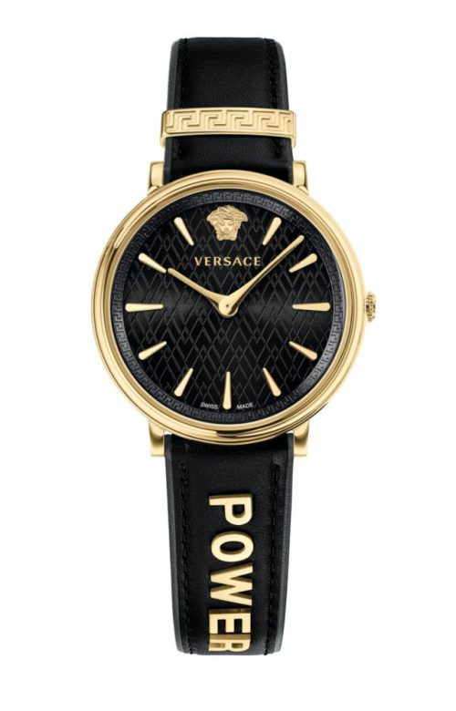 VERSACE V-CIRCLE BLACK LEATHER STRAP
