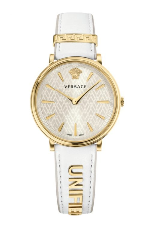 VERSACE V-CIRCLE WHITE LEATHER STRAP