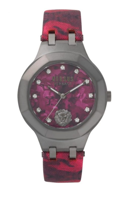 VERSUS VERSACE LAGUNA CITY CRYSTALS CAMO LEATHER STRAP