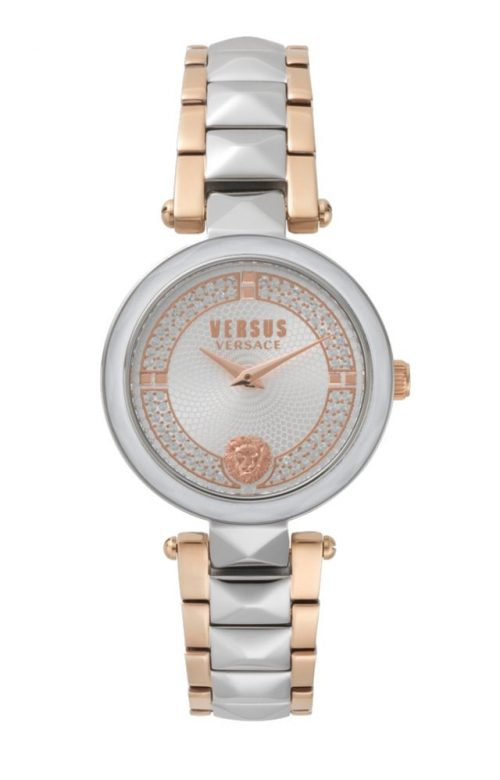 VERSUS VERSACE COVENT GARDEN CRYSTAL TWO TONE SILVER STAINLESS STEEL BRACELET