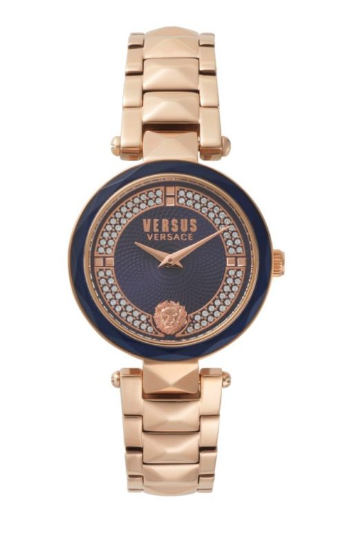 VERSUS VERSACE COVENT GARDEN CRYSTAL ROSE GOLD STAINLESS STEEL BRACELET