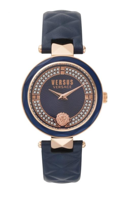 VERSUS VERSACE COVENT GARDEN CRYSTAL BLUE LEATHER STRAP