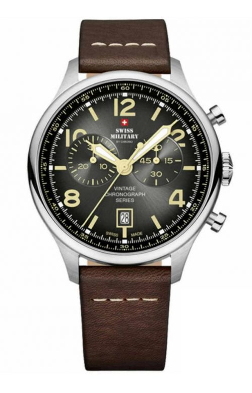 SWISS MILITARY by CHRONO CHRONOGRAPH BROWN LEATHER STRAP