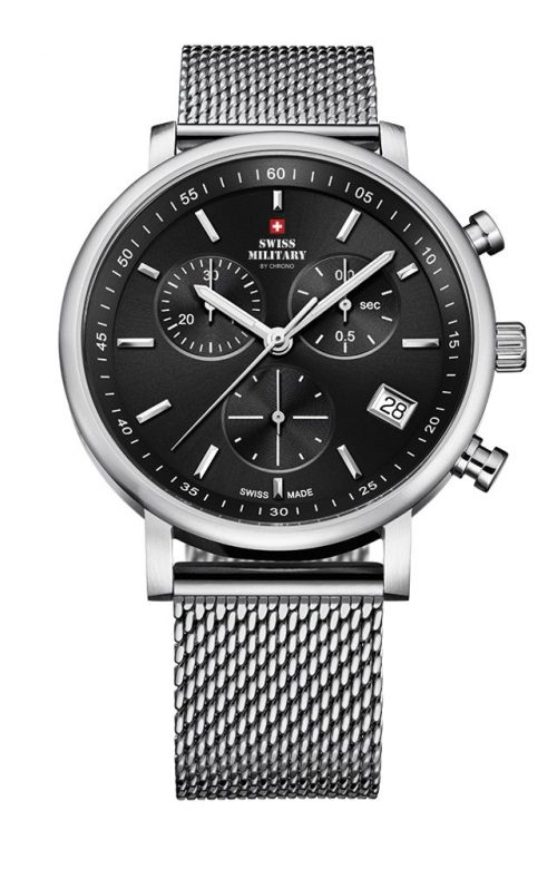 SWISS MILITARY by CHRONO MEN CHRONOGRAPH SILVER STAINLESS STEEL BRACELET