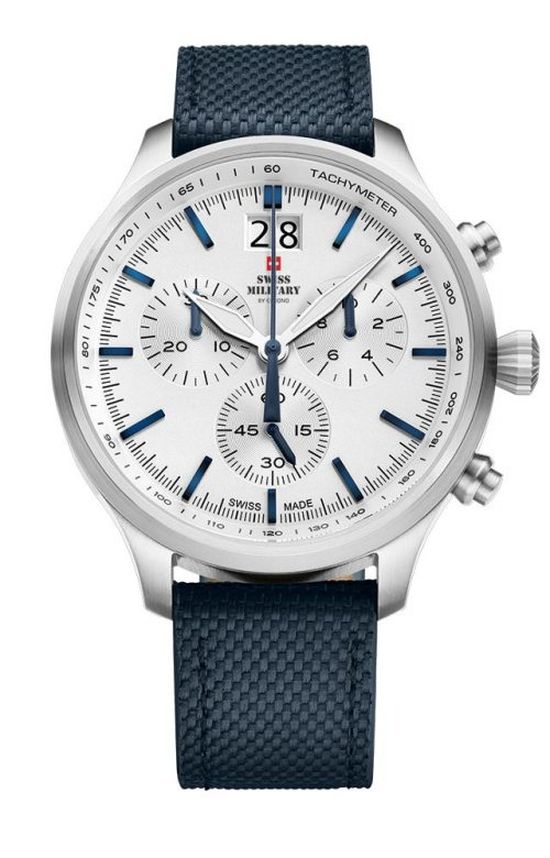 SWISS MILITARY by CHRONO MEN CHRONOGRAPH BLUE LEATHER STRAP