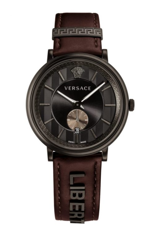 VERSACE V-CIRCLE BROWN LEATHER STRAP