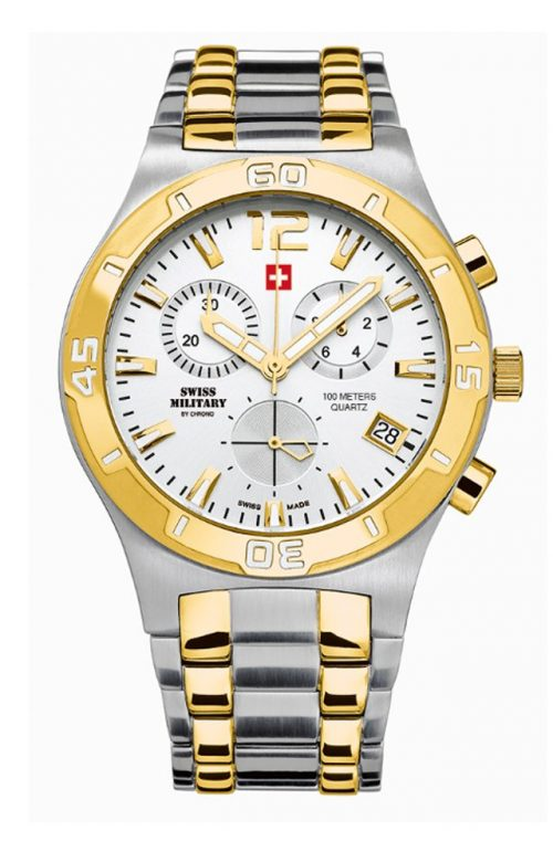 SWISS MILITARY by CHRONO MEN CHRONOGRAPH TWO TONE STAINLESS STEEL BRACELET