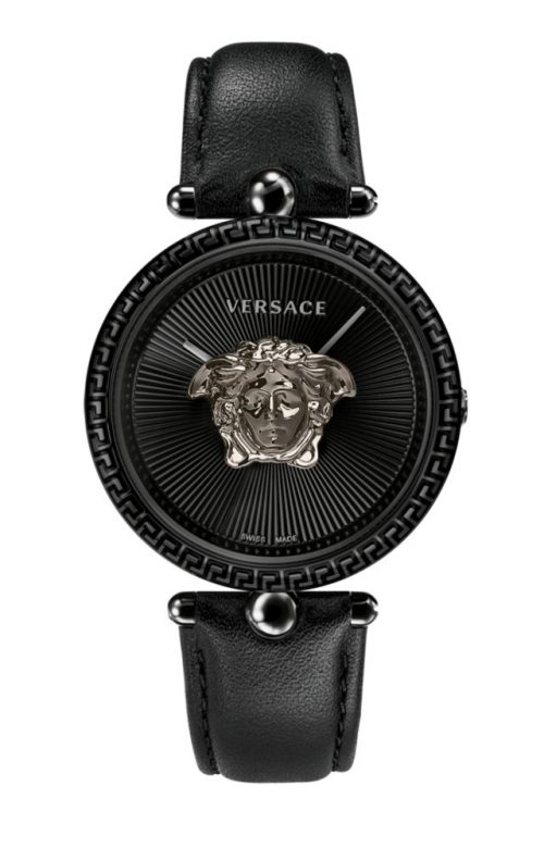 VERSACE PALLAZO EMPIRE BLACK LEATHER STRAP
