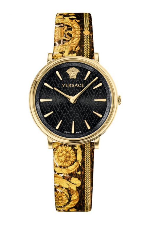 VERSACE V-Circle Multicolor Leather Strap
