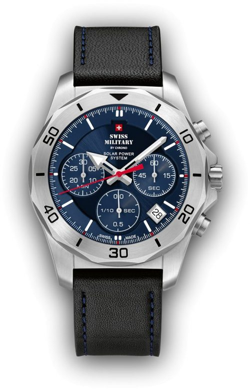 SWISS MILITARY BY CHRONO BLACK LEATHER STRAP