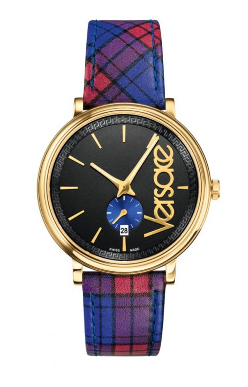 VERSACE V-CIRCLE THE CLANS STORY BLUE LEATHER STRAP