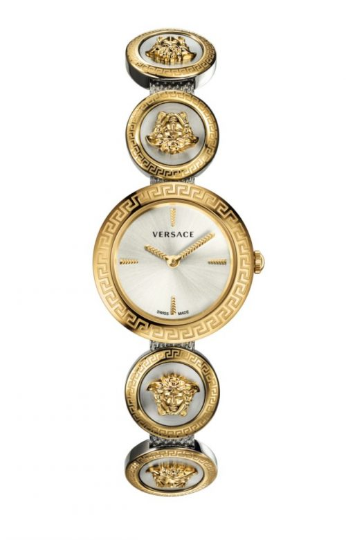 VERSACE MEDUSA STUD ICON TWO TONE SILVER STAINLESS STEEL BRACELET