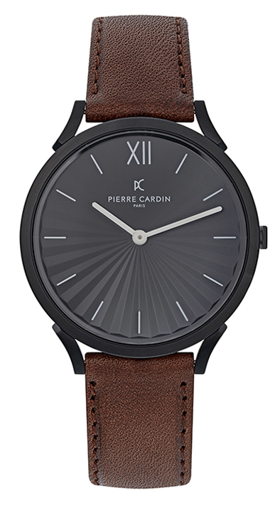 PIERRE CARDIN PIGALLE BROWN LEATHER STRAP