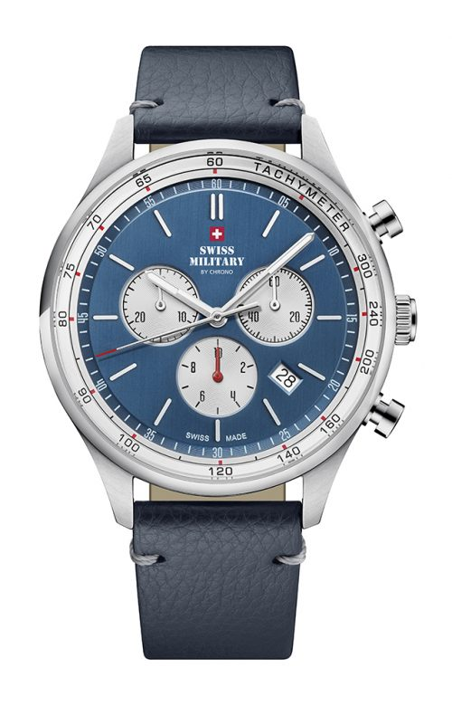 SWISS MILITARY BY CHRONO BLUE LEATHER STRAP