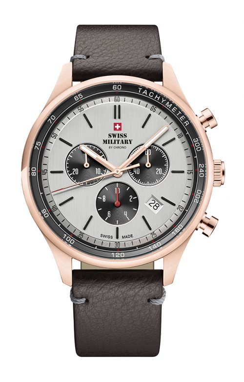 SWISS MILITARY BY CHRONO BROWN LEATHER STRAP