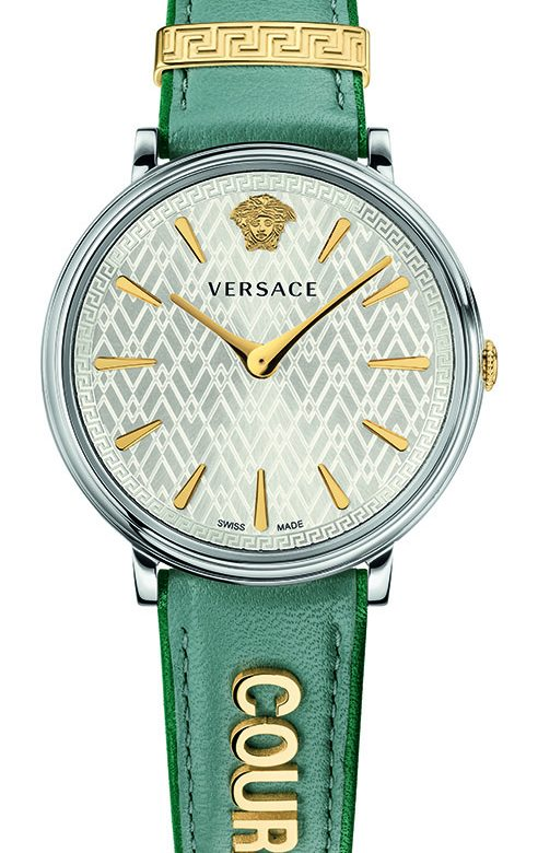 VERSACE V-CIRCLE GREEN LEATHER STRAP