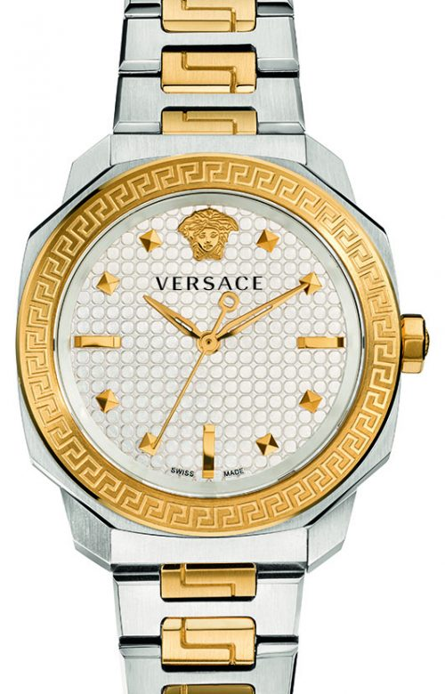 VERSACE DILOD TWO TONE STAINLESS STEEL BRACELET
